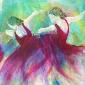 kunstkort - flamencodansere - udsnit af oliemaleri af kunstneren Helle Borg Hansen