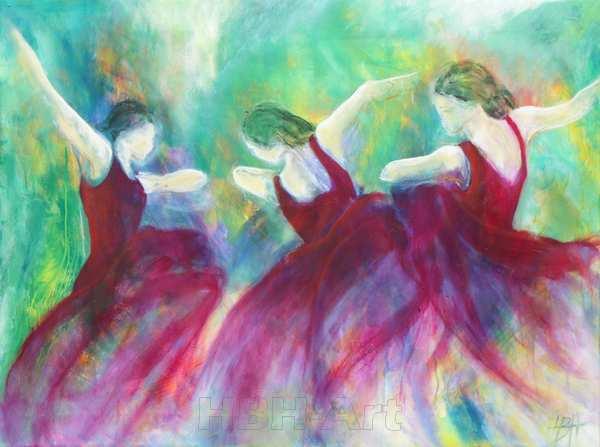maleri af dansende kvinder i violette kjoler på grønlig baggrund