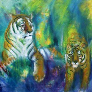farverigt maleri af to tigre. Malet i olie på lærred