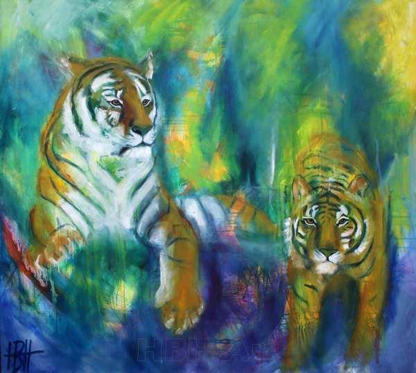 farverigt maleri af to tigre. Malet i olie på lærred - malerier af dyr