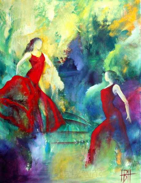 maleri af kvinder, der danser mod et farverigt fantasilandskab