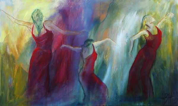 Maleri af dansende damer i mørkerøde kjoler mod en farverig baggrund