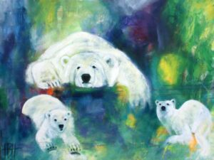 Dyremalerier - maleri af isbjørne på blå og grøn baggrund