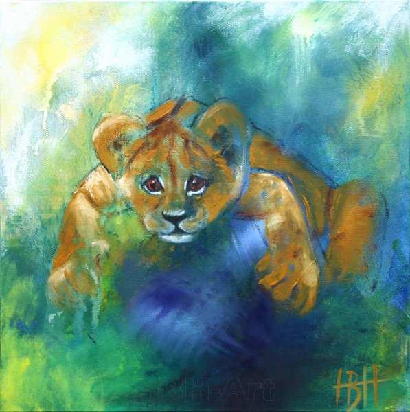 maleri af løveunge der kigger på dig