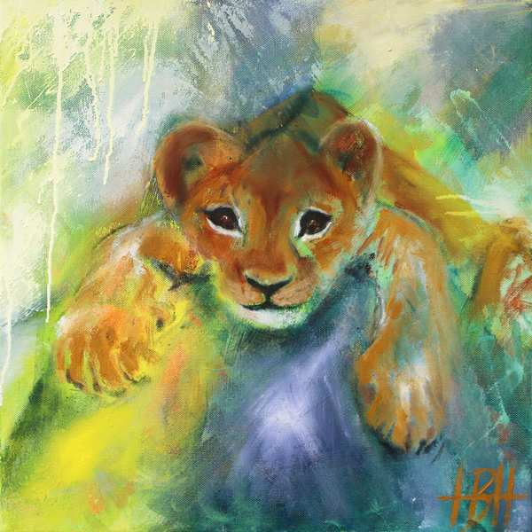 maleri af løveunge, der ligger på en sten og kigger lige på dig