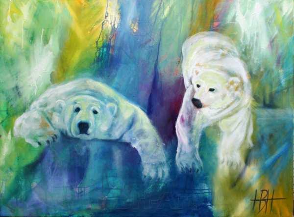 Maleri af to isbjørne på en blå og grøn baggrund