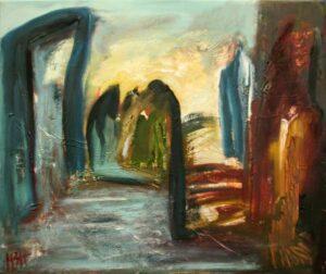 abstrakt fantasilandskab med kolde og varme farver