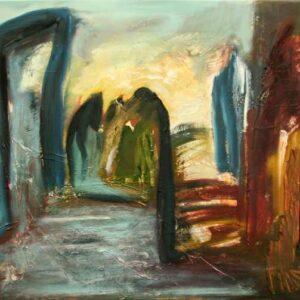 maleri af fantasilandskab med kolde og varme farver