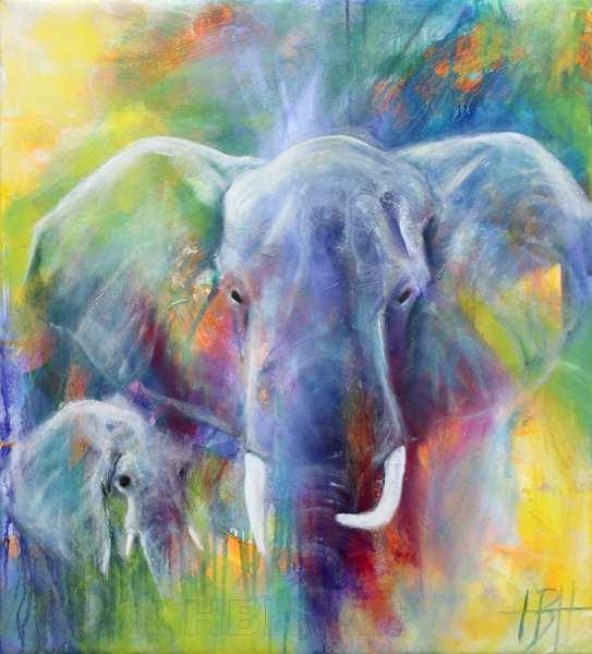Maleri af blå elefant og unge på en farverig baggrund