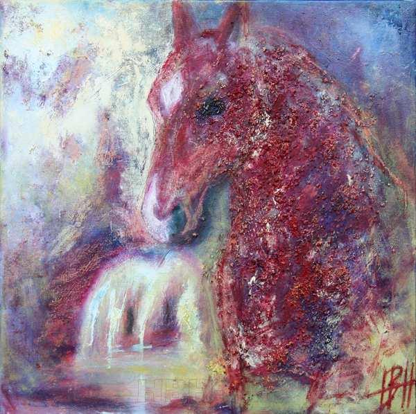 Hesteportræt af hesten Raphael. Hesten er sort men malet i bordeauxrød