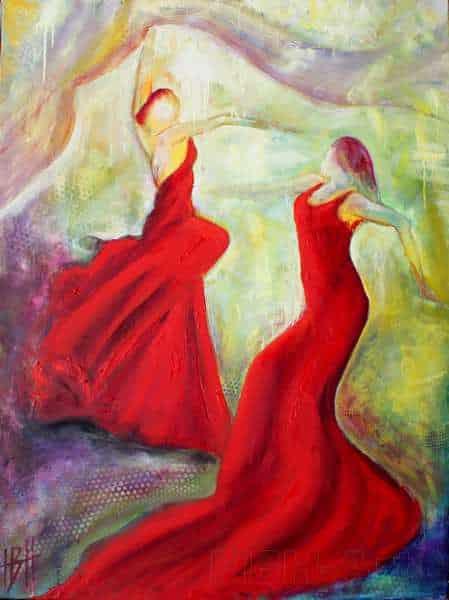 Maleri af flamencodansere i røde kjoler. Det er malet i olie på lærred. Den ene kvinde svinger et sjal af lys over dem begge to