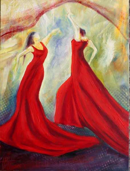 maleri af dansende kvinder, der svinger et sjal over sig som en regnbue