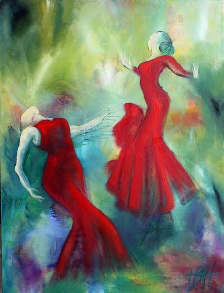 maleri af damer i røde kjoler