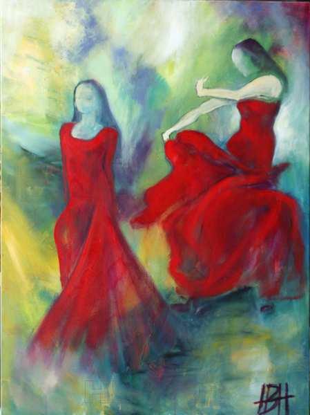 maleri af røde dansende kvinder, Den ene går fremad, den anden svinger med kjolen