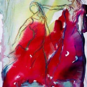 Akvarel i kølige farve - blå og rød med to flamencodansere