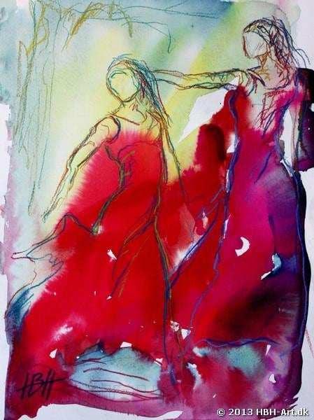 Flotte billeder. Akvarel i kølige farve - blå og rød med to flamencodansere