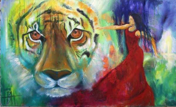 maleri af tigerhoved og kvinde