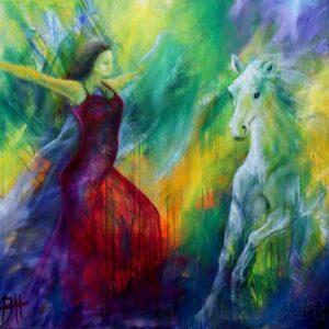 Farverigt maleri af hest og danser. Maleri med lys