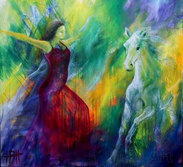 funktion og eksistens i malerier og som kunstner Farverigt maleri af hest og danser. Maleri med lys