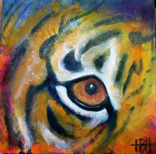 Malerier på træplade 20 X 20 cm tigerøje 2
