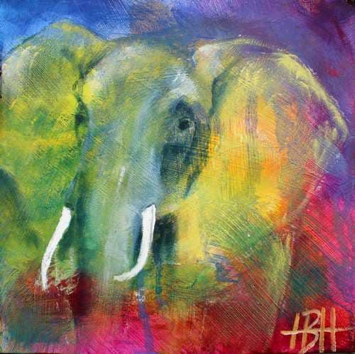 små malerier på træplader elefantmaleri