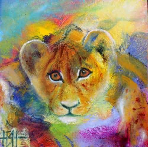 små malerier på træplader løveunge på farverig baggrund