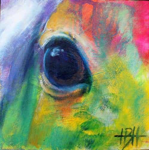 Malerier på træplade 20 X 20 cm hesteøje i nærbillede