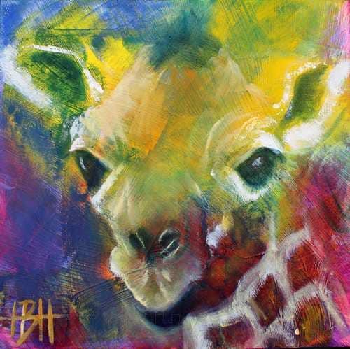 små malerier på træplader Girafmaleri
