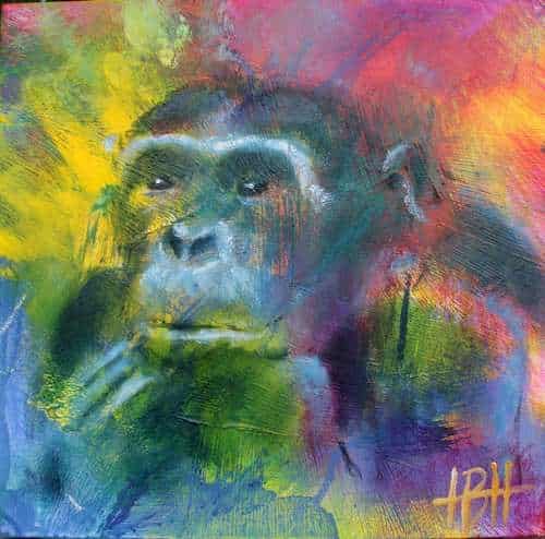 Malerier på træplade 20 X 20 cm gorilla med hovedet på hånden