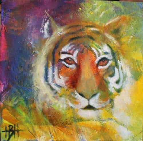 Malerier på træplade 20 X 20 cm tiger på farverig baggrund