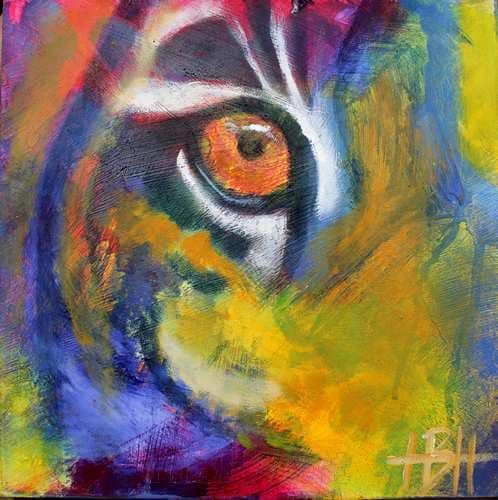 Malerier på træplade 20 X 20 cm tigerøje. Malet i olie med mange farver