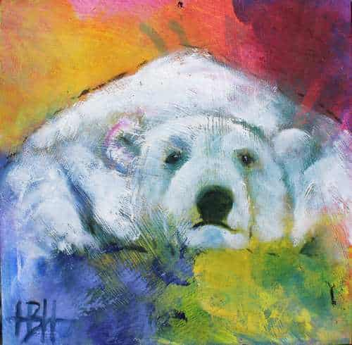 små malerier på træplader liggende isbjørn på farverig baggrund