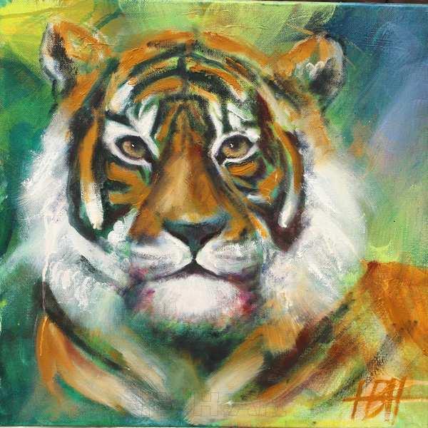 Maleri af tigerhoved