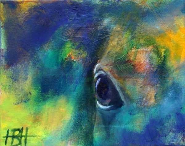 lille maleri af hesteøje i blå og grønne og gule farver