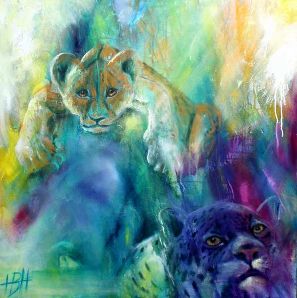 Maleri af blå leopard og en unge, der ligger på en sten