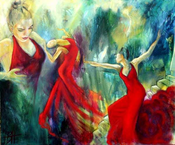 Portræt af Flamencodanseren Selene Munoz som danser og med fokus på hendes ansigt