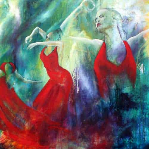 Kunstkort print af flamencomaleri af Helle Borg Hansen