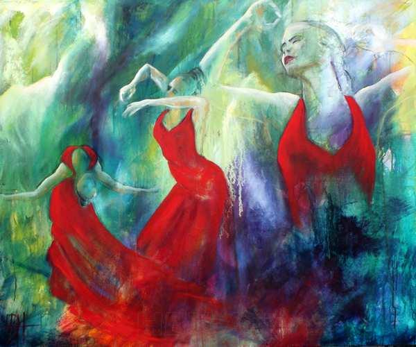Portræt maleri af Flamencodanseren Selene Munoz