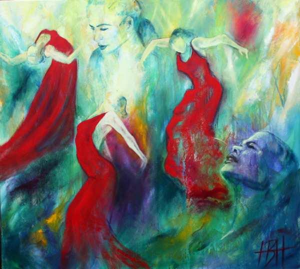 Portrætmaleri af flamencodanseren Selene Munoz. Både nærbilledee af hendes ansigt og Selene som danser i hel figur