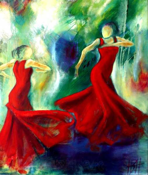 flamenco maleri af to kvinder der danser sevillanas over for hinanden