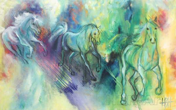 hestemaleri med farver og magisk baggrund