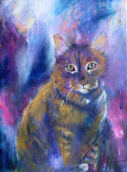 Portræt af katten Sia i blå og violette farver