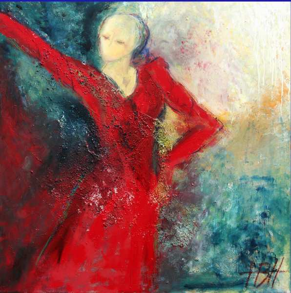 kvadratisk maleri af rød flamencodanser