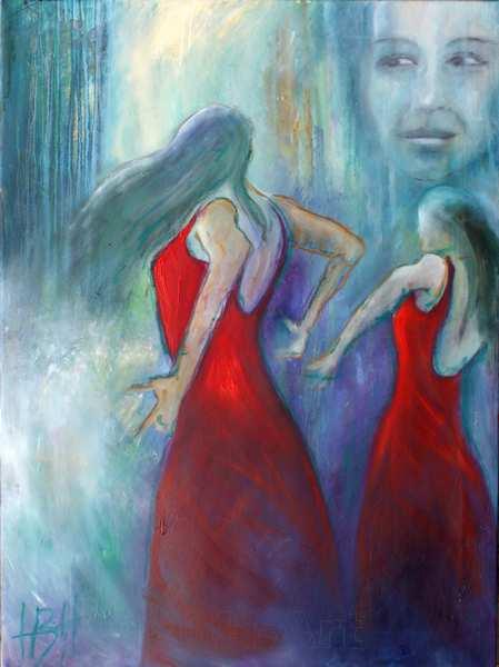 Maleri af røde flamencodansere og et ansigt, Baggrunden er blå og violet