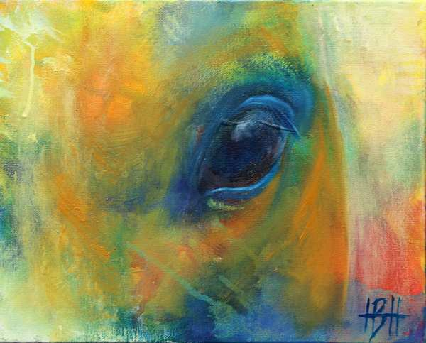 Maleri af et hesteøje med dybde og udtryk
