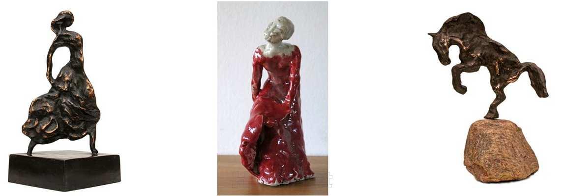 skulpturer fra Atelier HBH-Art. bronzeskulpturer af flamencodanser og hest. stentøjs skulptur af flamencodanser i rød kjole