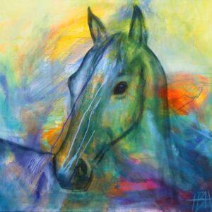 Maleri af hest i mange farver