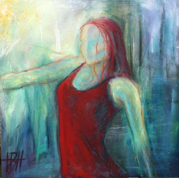 Maleri af kvinde i kolde farver