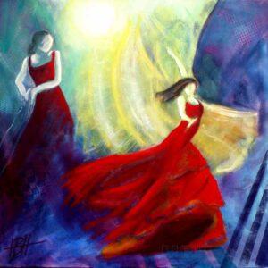 Maleri af dansende kvinder og solen