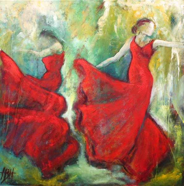 maleri af to kvinder der danser flamenco i røde kjoler